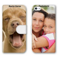 Etui cuir RECTO VERSO personnalisable IPHONE SE